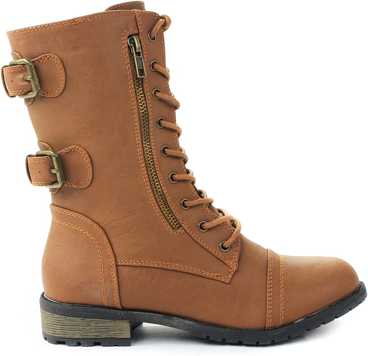 JJF shoes Mango-61 Women Tan Combat Lace Up Zip Grommet Buckle Mid Calf Motorcycle Boots-10