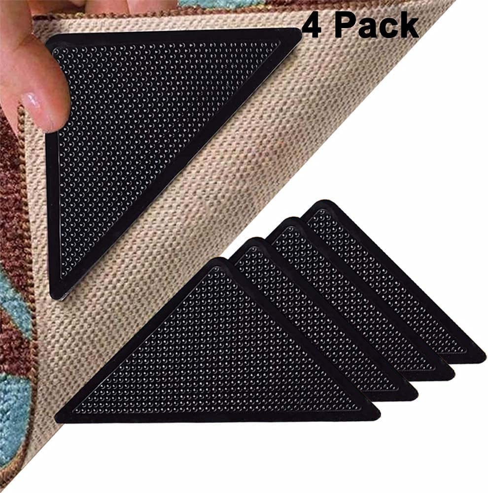 UPSEN Rug Grippers for Hardwood Floors, Double Sided Removable Carpet Gripper, Anti Slip Rug Pads with Non Curling, Washable and Reusable Rug Tape for Tile Floor, Carpets and Floor Mats (Black-4 Pcs)