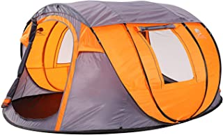 Bravindew Tent for Camping Instant Fast Pitch Pop Up Tent with Skywindow-Durable Portable Easy Up Shelter with 12 Stakes & Carrying Bag, Ideal for Family Camping (Orange) (5-6 Person)