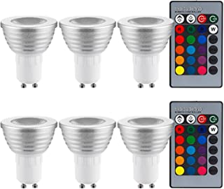 3W Multi-Color GU10 LED Bulb, Dimmable RGB Floodlight Kit, 2 Remote Controllers, Color Changing Reflector, LED Mood Light ...