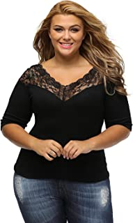 Libaoge Womens Sexy Black V Neck Off Shoulder Plus Size Lace Top Blouse Shirt