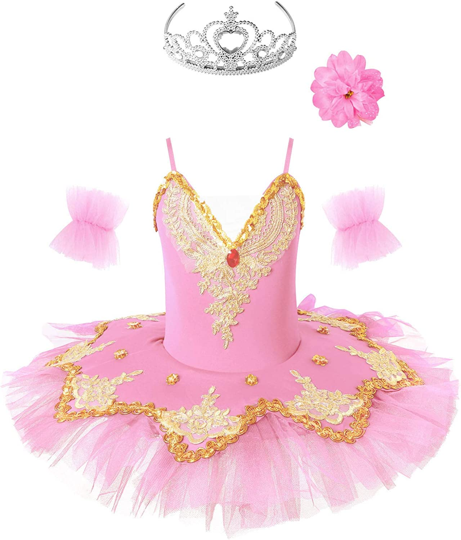 easyforever Kids Super sale Girls At the price Gold Embroidered M Ballet Leotard Sequins