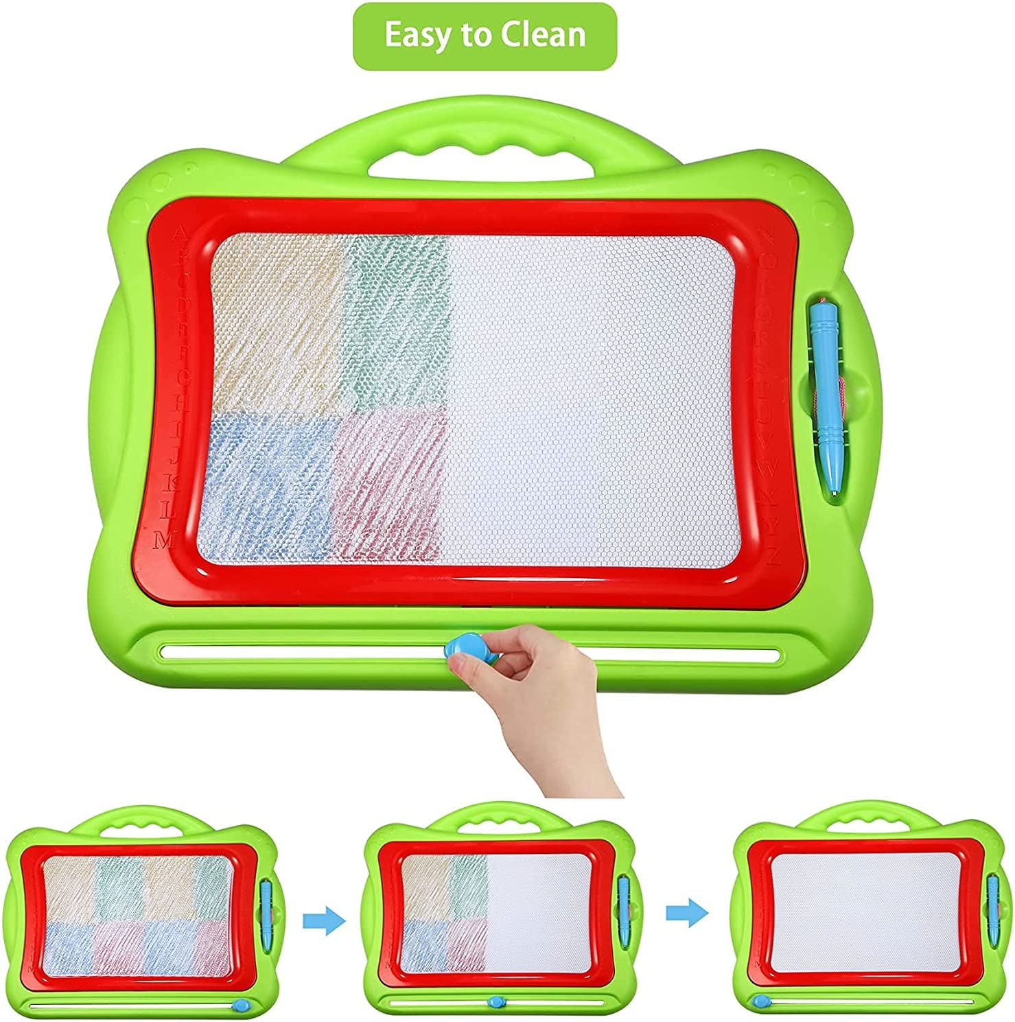 Green Magnetic Drawing Board for Toddlers Large Erasable Doodle Board Writing Painting Sketch Pad Creative Educational Toys for Kids Boys /& Girls
