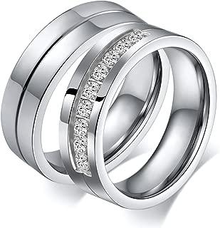 6MM Couple Ring Wedding Stainless Steel Custom Lettering Rings Silver Women Size 8 & Men Size 13