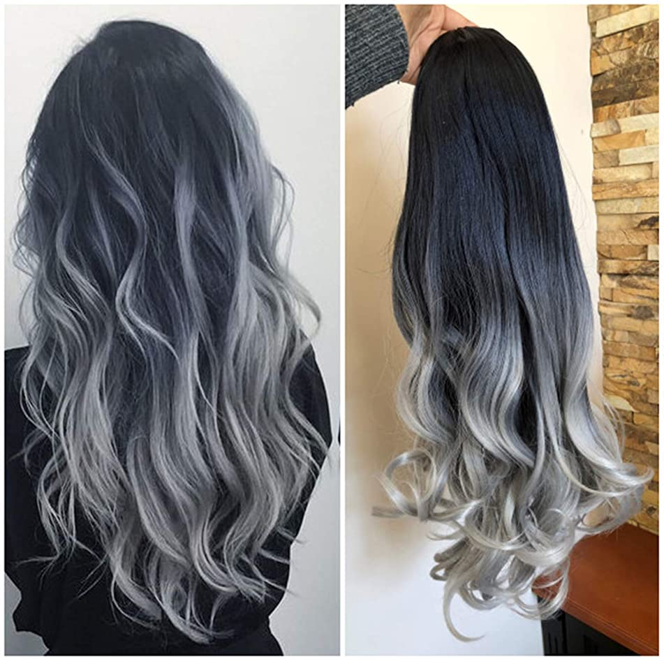 24 Inches Long Wavy Curly Clip in Ombre 3/4 Half Head Wig DL (Wavy-Black to grey)