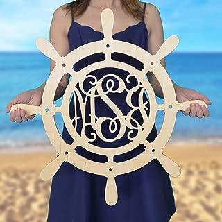 SALE 12-36 inch Ship Wheel Monogram - Wood Monogram - Wedding Monogram - Wooden Initials - Navy Decor - Boathouse - All Aboard - Nautical Decor- Door Hanger