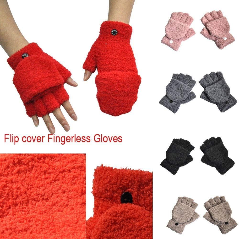 YHYHNE Gloves Lady Winter Keep Warm Magic Adult Women Men Winter Hand Wrist Warmer Flip Cover Fingerless Gloves Cold Gloves (Color : E Black)
