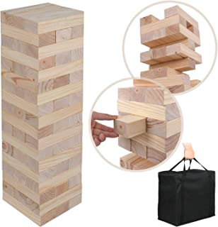 Nova Microdermabrasion Giant Toppling Tumble Tower Blocks Game Wood Stacking Game Tumbling Timbers Outdoor Yard Game (2.5 ft to Over 5 ft) - 54 Pieces, Carry Bag