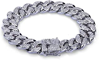 "Aijian 12mm 18k Gold Plated All ICED Out Simulated Diamond Miami Cuban Chain Bracelet 8"" (Silver 8'')"