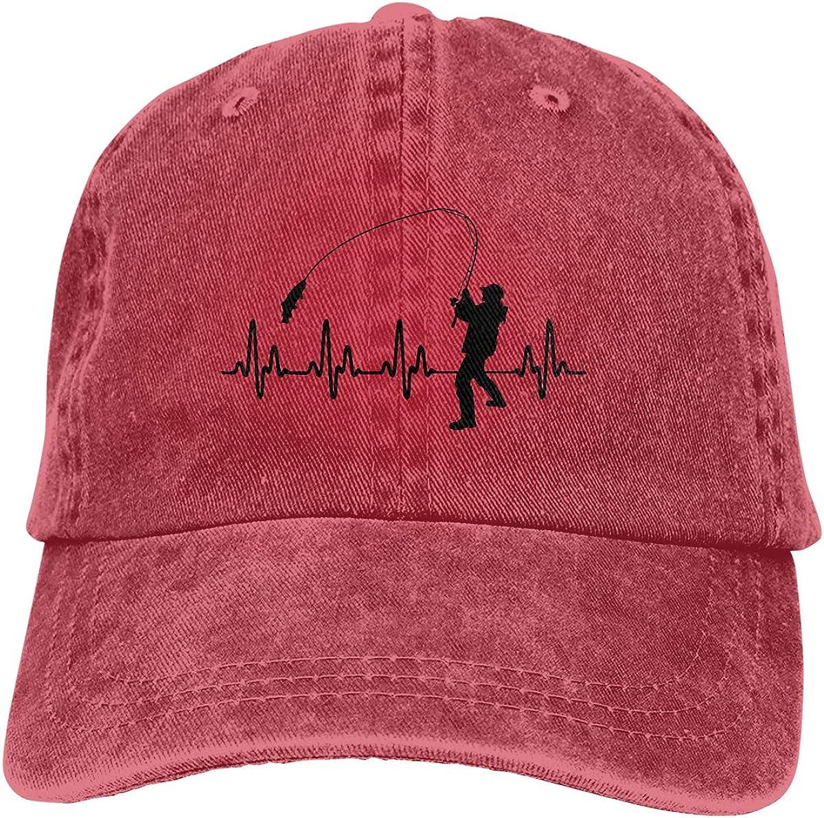 Heartbeat Fishing Denim Hat Adjustable Plain Cap Baseball Caps