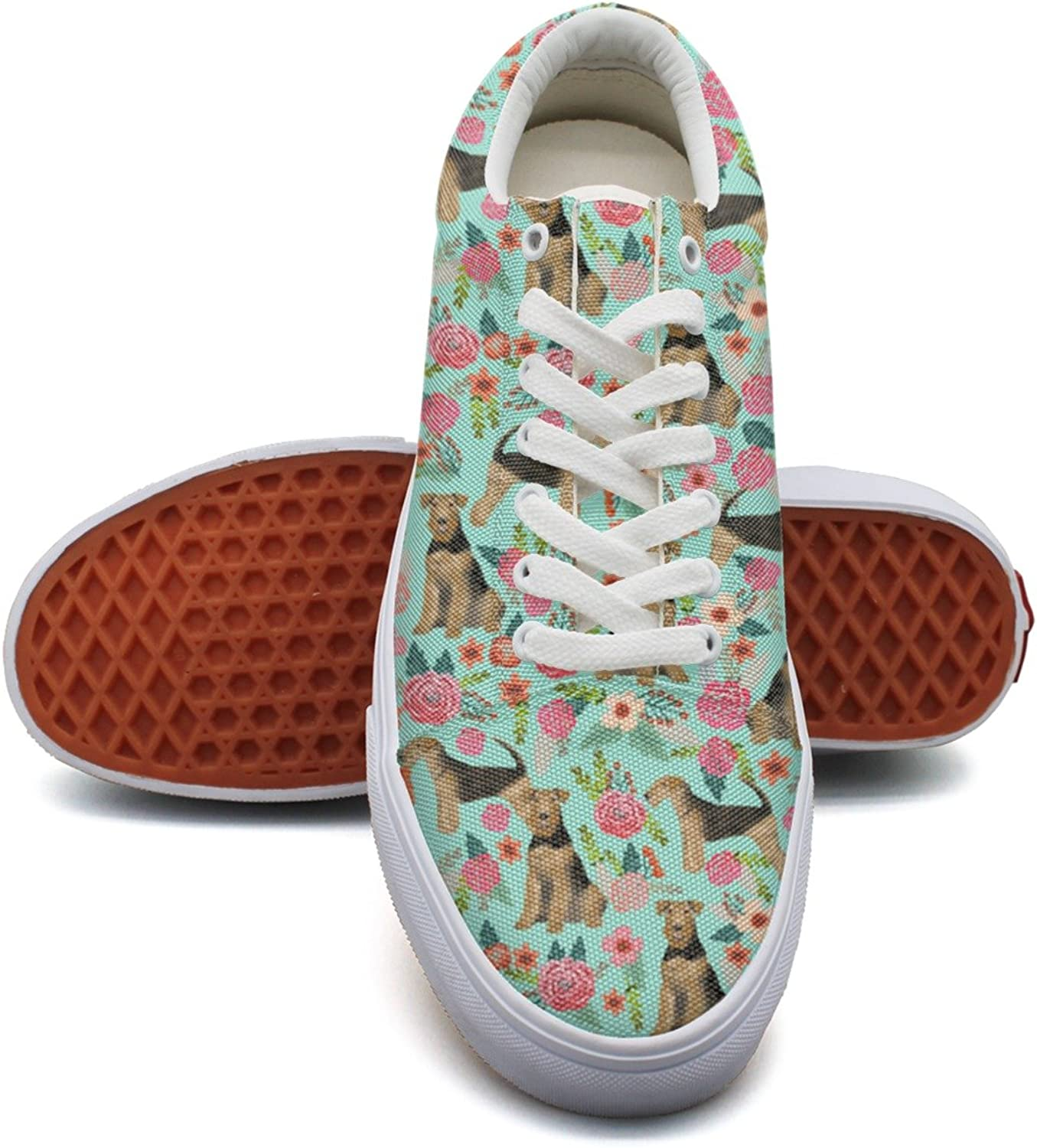 Feenfling Cute Airedale Terrier Dog Florals Womens Latest Canvas Low Top Exclusive Sneaker for Women's