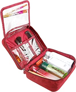 Portable Travel Makeup Cosmetic Bag Organizer Waterproof Toiletry Bags With Handle and Zipper (Medium, Red wine)