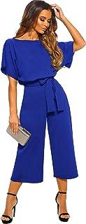 Longwu Women's Elegant High Waist Short Sleeve Jumpsuit...