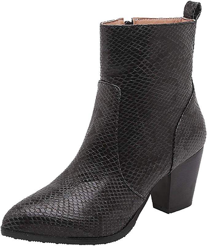 Women Snakeskin Print Boots Tsmile Extra Wide Faux Leather Warm Casual Chunky High Heel Party Light Ankle Booties