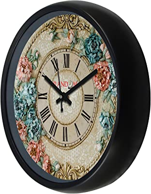 RANDOM Quartz Movement Plastic Wall Clock with Glass   Big Size 12x12 inch  RC-6847, Black
