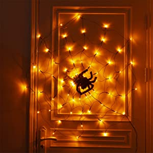 PEIDUO Halloween Spider Web Lights Decoration Plug in, Light up Black Spider Web 70 LED Waterproof Orange Lights for Party Yard Bar Haunted House Window Decor Indoor&Outdoor Halloween Decoration