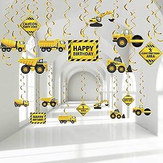 30 Pieces Construction Birthday Party Hanging Swirl Decoration, Traffic Zone Birthday Theme Streamers, Construction Trucks...