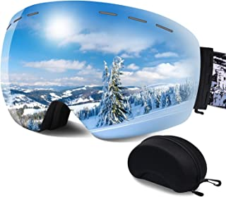 ERUW Ski Goggles - OTG Frameless Snowboard Goggles with Anti-Fog UV Protection of Double Lens Compatible Windproof Helmet ...