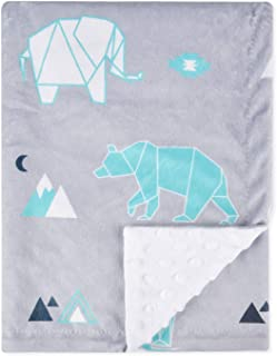 BORITAR Baby Blanket Soft Minky with Double Layer Dotted Backing, Lovely Polar Bear Printed 30 x 40 Inch, Grey Receiving Blankets