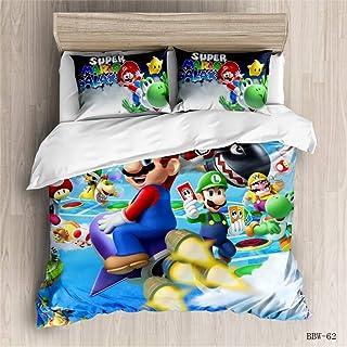 EA-SDN 3D Super Mario Bros. Juego de Ropa de Cama (Funda nórdica de 135 x 200 cm y Funda de Almohada de 50 x 75 cm) Infantil con diseño de Dibujos Animados(Mario #7,155 x 220 cm)