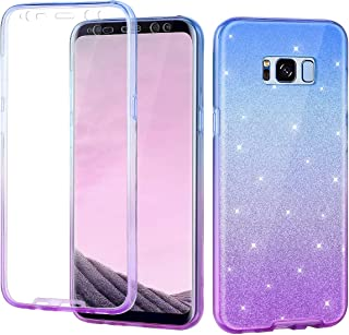 Casetego Compatible Galaxy S8 Plus Case,360 Full Body Two Piece Slim Crystal Transparent Case with Built-in Screen Protector for Samsung Galaxy S8 Plus,Blue/Purple