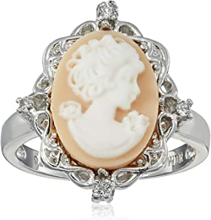 Sterling Silver Pink Cameo Oval with Created White Sapphire Ring