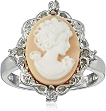 Jewelili Sterling Silver Pink Cameo Oval with Created White Sapphire Ring