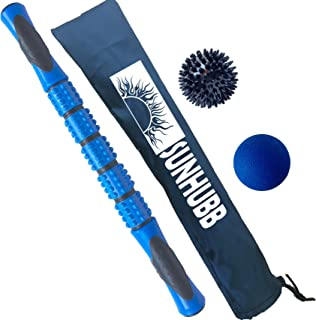 Roller Stick Set - Muscle Massage by SunHubb- Spiky & Lacrosse Balls & Massage Stick Roller - Full Body Massage Athletes Kit - Complete Fascia Pressure Point Recovery for Runners, Calf Roller Stick