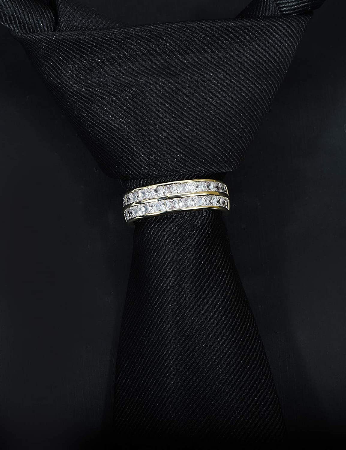 VVCome Men's Classic Square Cubic Zirconia Tie Clips Tie Holder Crystal Necktie Ring Tie Tacks Accessories for Wedding Business with Gift Box
