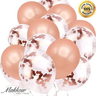 Makkow Rose Gold Balloons - Confetti & Latex Balloons (32 pcs) 12 inch Premium Party Balloons for Bridal Shower Decorations Wedding Birthday Decorations, Balloons for Party ! 2 pcs Ribbon included