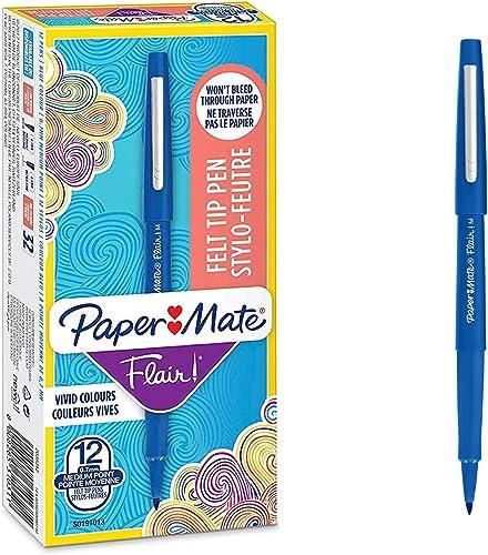 PaperMate Flair stylo-feutre, pointe moyenne 1,1mm, encre bleue, boîte de 12
