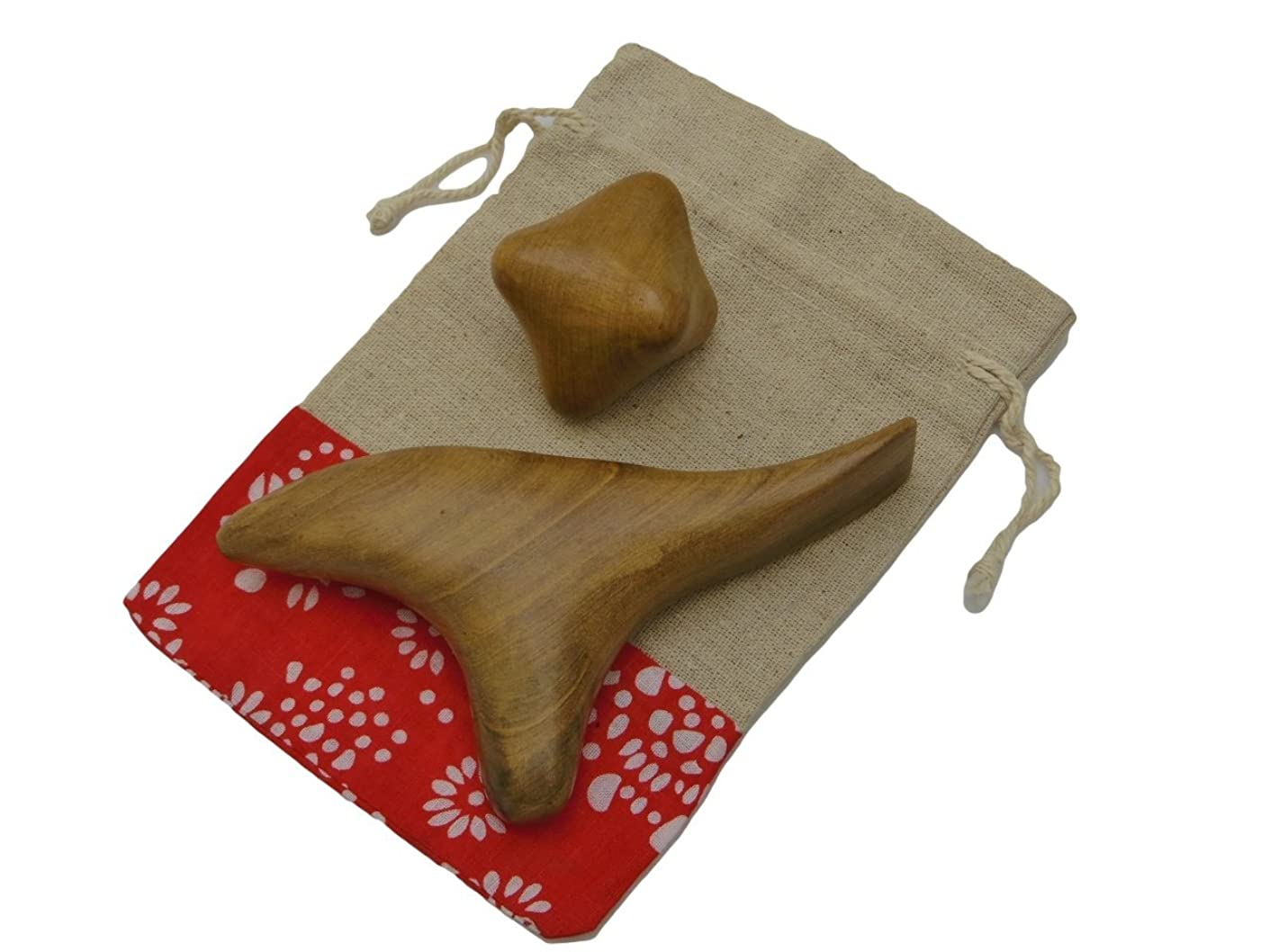 アクセルようこそハンディImport miscellaneous goods 木製 指圧 棒 ツボ 押し マッサージ 玉 リンパ 足 手 つぼ かっさ 2