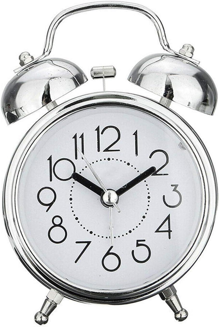 FIRMLEILEI Creativo Retro Despertador Reloj de Bronce Antiguo Reloj Redondo Dual Campana Fuerte Reloj de Alarma Noche luz de Noche Decoraciones de hogar Regalo Despertador (Color : S)