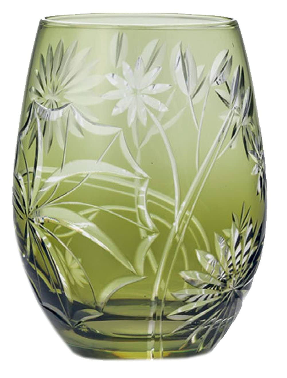 勉強する虫を数える投げる東洋佐々木ガラス タンブラー グリーン 420ml キリコ ツワブキ  HG111-56WG