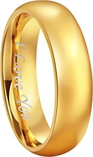 4mm 6mm 8mm 24K Gold Plated Tungsten Wedding Couple Bands Rings Men Women Plain Dome Polished Engraved