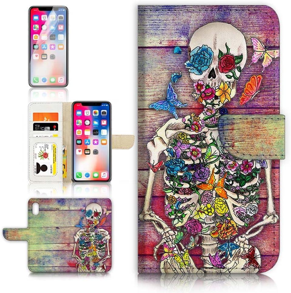 (for iPhone XR) Flip Wallet Case Cover & Screen Protector Bundle - A20325 Sugar Skull Skeleton