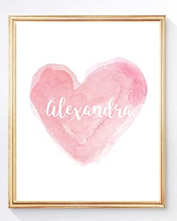 Personalized Gift for Girls Room, Heart Print with Name in 13 Colors, UNFRAMED