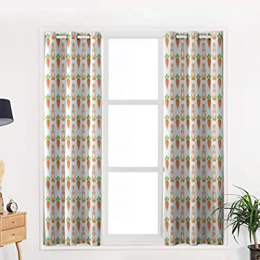 OneHoney Happy Easter Rabbits with Carrots Blackout Window Curtains for Living Room Bedroom, Grommet Thermal Insulated Window