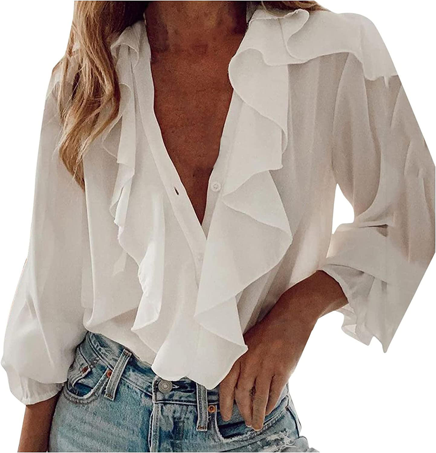 Women's Plus Size Off The Shoulder Tops Embroidery Long Sleeve Tunic Tops Blouses Tops Fall Chiffon Shirts Blouse