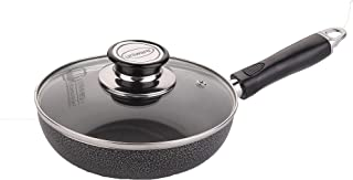 Uniware 7 Inch Frying Pan with Tempered Glass Cover, Non-Stick, Dishwasher Safe