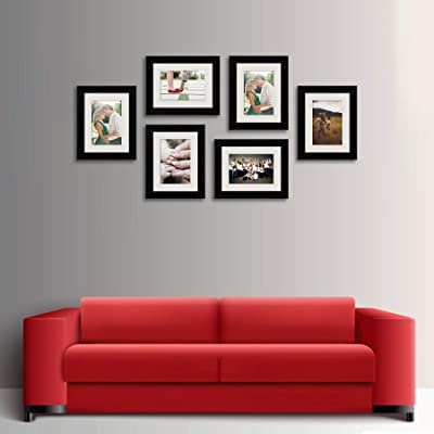 ArtzFolio Wall Photo Frame D399 Black 6x8inch;Set of 6 PCS with Mount