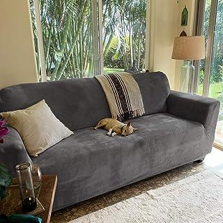 Best RHF Velvet-Sofa Slipcover, Stretch Couch Covers for 3 Cushion Couch-Couch Covers for Sofa-Sofa Covers for Living Room,Couch Covers for Dogs, Sofa Slipcover,Couch slipcover(Dark Grey-Sofa) Review