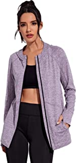 SHEIN Women's Colorblock Zip Up Hooded Sports Track Jacket With Thumb Holes