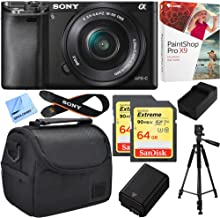 $548 » Sony Alpha a6000 24.3MP Mirrorless Camera w/ 16-50mm Bundle Deal Includes Alpha a6000, 16-50mm Zoom Lens, Paint Shop Pro X9, Bag, 64GB SDXC Card x 2, Battery, Charger, Tripod and Beach Camera Cloth