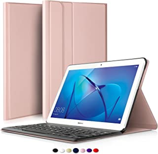 IVSO Huawei Mediapad T3 10 Teclado Estuche [QWERTY], Ultra Fino Slim Funda con Magnético Desmontable Wireless Teclado para Huawei Mediapad T3 10 (Oro Rosa)