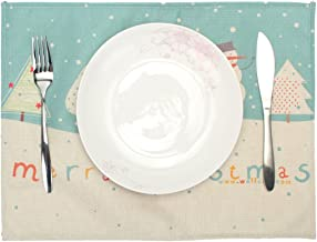 FUT Table Mats, Christmas Holiday Table Placemats, Dinner Mat, Tableware Decoration for Wedding Christmas Home Party 42x32cm