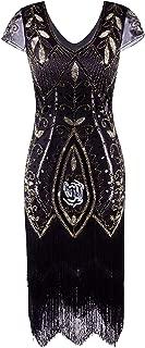 Women's 1920's Vintage Gatsby Bead Sequin Art Nouveau Deco Flapper Dress