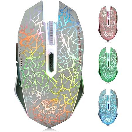 TENMOS M2 Inalámbrico Ratón, Recargable con Silencioso Ratón óptico Gaming Wireless Mouse con Receptor Nano 6 Botones para Ordenador Mac Notebook ...