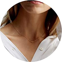 VACRONA Gold Dainty Cute Bead Necklace,14K Gold Plated Delicate Tiny Bead Charm Minimalist Necklace for Women