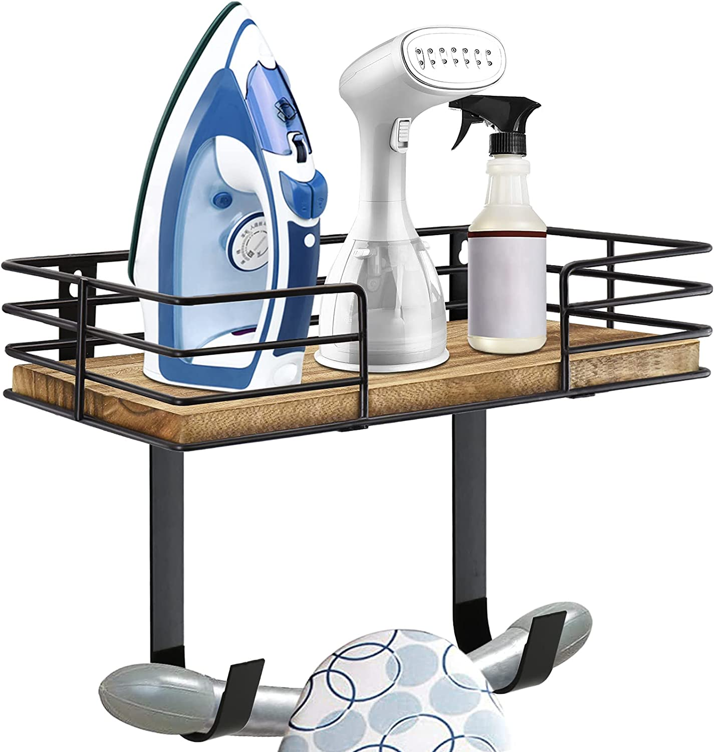 PICKKROSS Ironing Board Hanger Wall Mount, Laundry Room Iron & Ironing Board Holder with Storage Shelf,Metal Wall Mount Ironing Board Holder with Large Storage Basket&Removable Hooks for Laundry Room